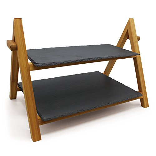 kingwell-premium-bamboo-rustic-slate-board-two-tier-rack-food-tapas-sushi-serving-cake-stand