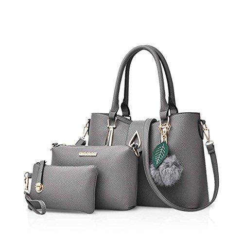 NICOLE&DORIS Neu Mode 3 PCS Tasche Handtasche Schulter Frauen Crossbody Totes Bote Weich PU Grau (3 Tote Tasche)