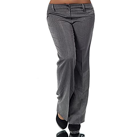 H324 Damen Business Stoffhose Elegante Bootcut Hose Classic Schlaghose Schlag, Farben:Grau;Größen:34 XS (Etikett