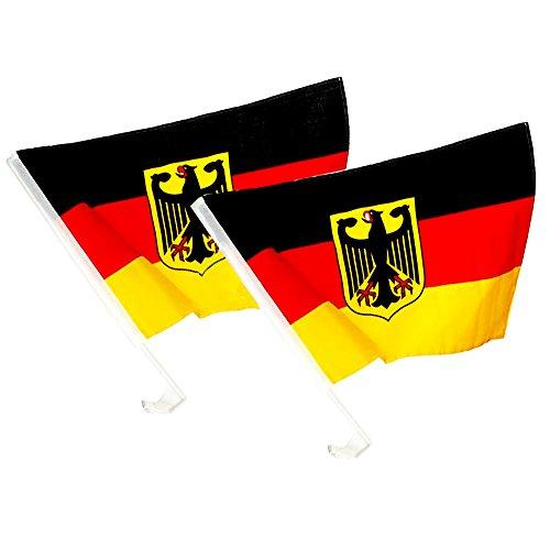 Piersando Autofahne Set 2 Stück Auto Fahne Fussball EM & WM Länderflagge Fanartikel Land Flagge Autoset Deutschland mit Adler