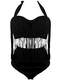 e66d43ac550fb5 MUXILOVE Damen Plus Size Badenmode High Waist Bikini Push Up Set mit Quast Badeanzug  Bademode…