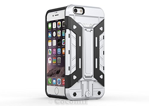 iPhone 6S Plus / 6 Plus Hülle, Cocomii Transformer Armor NEW [Heavy Duty] Premium Built-in Multi Card Holder Kickstand Shockproof Hard Bumper Shell [Military Defender] Full Body Dual Layer Rugged Cover Case Schutzhülle Apple (Silver)