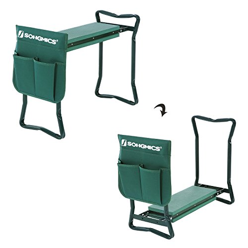 Songmics 2 in 1 Garden Kneeler Seat Maximum Loading Capacity of 150 kg Foldable Steel Tube and Upgraded Tool Pouch 59 x 27 x 48 cm GGK01G