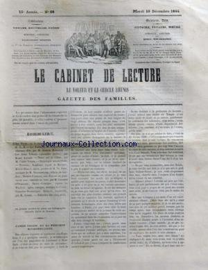 CABINET DE LECTURE (LE) [No 68] du 10/12/1844 - le...