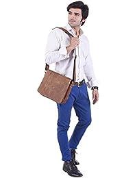 IHandikart Handicrafts (11x9inch) Buffalo Leather Sling Messenger Bag
