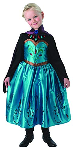Coronation Kostüm Elsa - Luxuspiraten - Mädchen Kinder ELSA Frozen Kostüm mit Prinzessinnenkleid Coronation Dress und Cape, perfekt für Karneval, Fasching und Fastnacht, 122-128, Türkis
