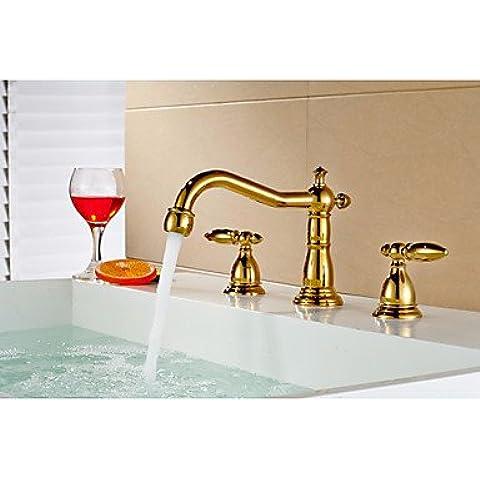 Hanmei finitura oro bagno doppio manico lavabo 3fori faucetcopper lavabo rubinetto