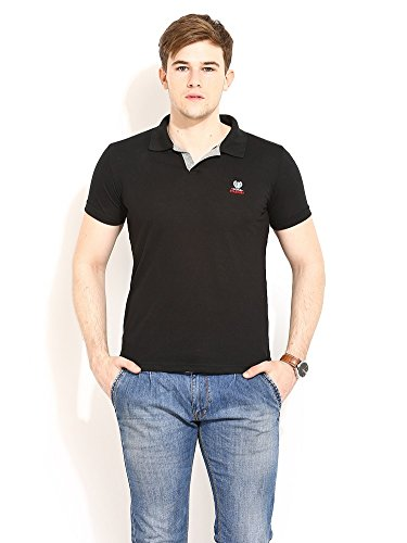 Duke Stardust Casual T-Shirt for Men Polo Collar Cotton Blend Material Half Sleeves Black Solid Smart Fit  available at amazon for Rs.359