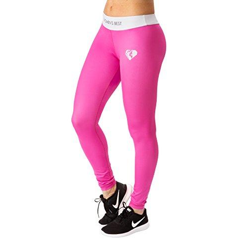 WOMEN'S BEST Sport Leggings für Damen – Leggins, Sport-Hose, Tights für Frauen mit bequemen Schnitt - EXCLUSIVE PINK/WEISS (S)