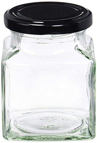 Nutley's Marmeladengläser, mit schwarzem Deckel, quadratisch, 280ml, 24Stück (Parfait Le Jam)
