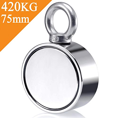 Uolor 420Kg Haftkraft Doppelseitig Neodym Ösenmagnet, Super Stark Power Magnete Perfekt zum Magnetfischen - Ø 75mm mit Öse Neodymium Topfmagnet