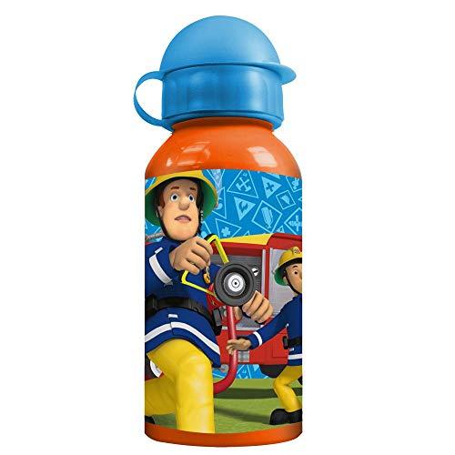 ZAK Design Alu-Trinkflasche | orange 400 ml | Feuerwehrmann Sam | Sport-Aluminium-Flasche