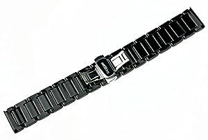 RECHERE correa de banda de reloj pulsera de cerámica de 22mm despliegue cierre color negro por RECHERE