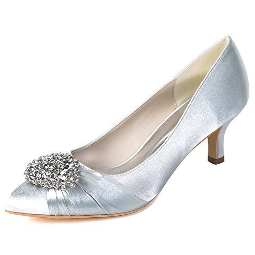 Comfash décolleté da donna in raso con strass a punta con tacco medio scarpe da sposa per feste,argento,43eu