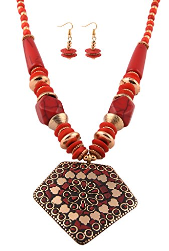 AELO - Designer Handcrafted Long Red Beaded Pendant Necklace And Earrings For Women & Girls.Ideal for Gift,Traditional,Ethnic,Indian, Daily and Party Wear fashion/costume Jewelry.  available at amazon for Rs.439