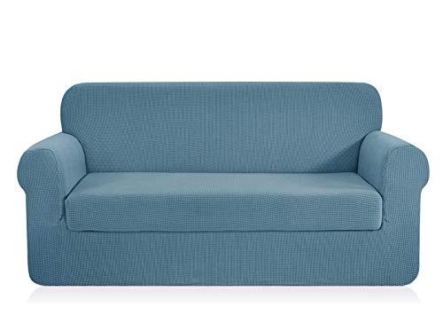 Chun yi 2-pezzi jacquard copridivano coprisofà elasticizzato in tinta unita (divano, cielo blu)