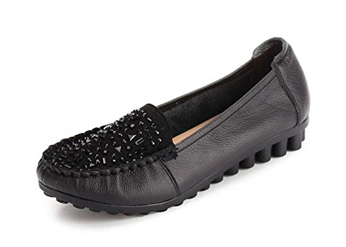 Chaussures Femme Chaussures Slip On Loafer Chaussures Chaussures Décontractées Chaussures Diamante Flat Black
