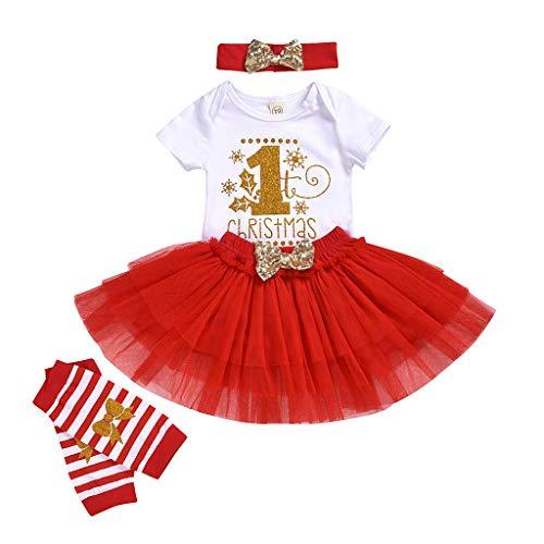 Cuteelf Kinderkleid Weihnachten Brief Roben + Tutu Rock + gedruckte Beinsocken + Haarband vierteiligen Anzug Langen Rock Ballett Rock Beinsocken Haarband Weihnachtskostüm