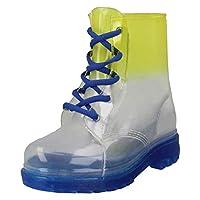Spot On Childrens/Kids Lace Up Transparent Colour Gradient Wellington Boots