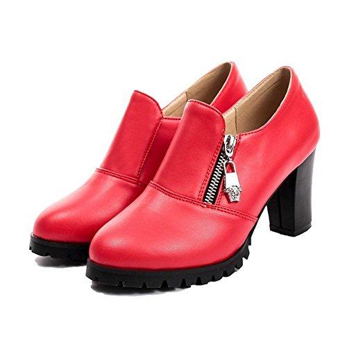 AgooLar Femme Pu Cuir à Talon Haut Rond Couleur Unie Zip Chaussures Légeres Rouge