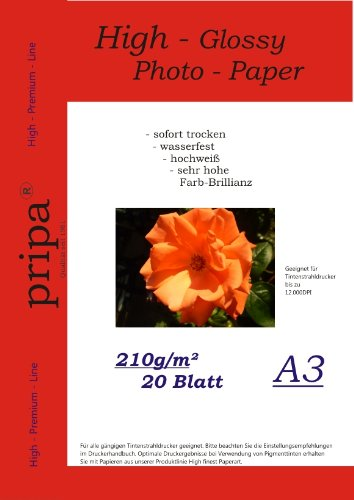 pripa-photo-paper-din-a3-210g-sqm-glossy-dries-immediately-waterproof-very-high-photo-brilliance-for