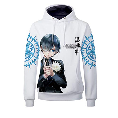 Black Cosplay Butler Kostüm - Cosstars Black Butler Anime Kapuzenpullover Sweatshirt Cosplay Kostüm Pullover Hoodie Sweater Top Mantel Weiß M