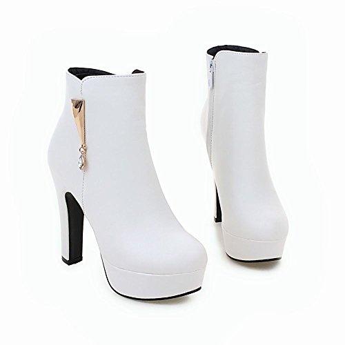 MissSaSa Donna Scarpe col Tacco Alto Elegante Stivaletti Bianco