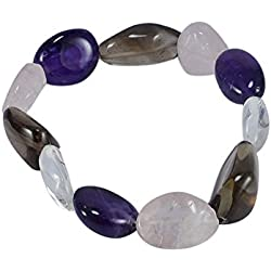 Silvesto India Purple, Brown & Pink Amethyst, Smoky & Rose Quartz Gemstone Strand Bracelet For Women