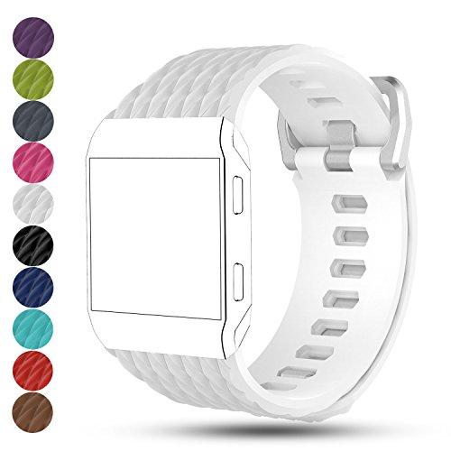 Für Fitbit Ionic Armband Straps - iFeeker Zubehör einstellbar weichen Silikon Sport Ersatzband Armband Handschlaufe Armband für Fitbit Ionic Fitness Smart Watch (groß und klein)