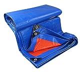 Strapazierfähige Abdeckplane für Camping, wasserdicht, Sonnenschutz, regendicht, verschleißfest, Bodenbelag für Gartenarbeit - 5mX9m - Blau, Orange
