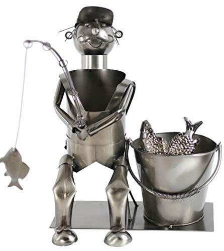 GeschenkIdeen.Haus - Flaschenhalter - Metallfigur als Angler