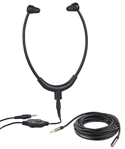 newgen medicals Kopfhörer mit Kabel: TV-Kinnbügel-Kopfhörer, 3,5-mm-Klinkenbuchse, 5 m Verlängerungskabel (Kinnbügel-Kopfhörer für Fernseher)