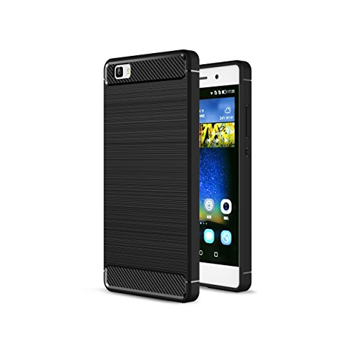 2ndSpring Huawei P8 lite 2016 Hülle, Ultra Slim Soft Case Premium weiche Karbonfaser Schwarz Silikon Handyhülle Schutzhülle für P8 lite 2016 Fallschutz Rutschfest Kratzfest Cover