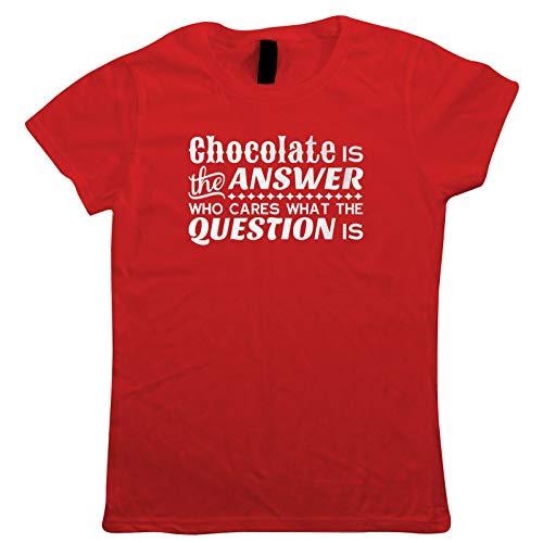 vectorbomb Schokolade Ist die Antwort Damen T-Shirt Osterhase Ei Chick Schokolade Motorhaube Parade Korb Band Trail Hot Kreuz Bun New Life Oster Geschenk Sie Mum - Rot, Medium (10)