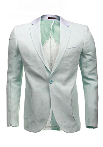 Cipo & Baxx Herrensakko Sakko Blazer Jacket 100% Leinen CJ131 (50, mint (40))
