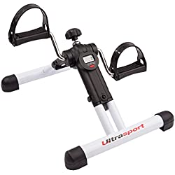 Ultrasport Mini Bike Exerciser plegable MPE Com 25 con consola – aparato compacto y transportable para el entrenamiento de brazos y piernas / minibicicleta estática