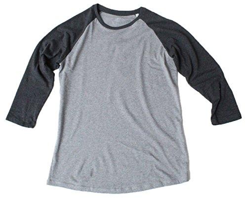 Baseball Unisex T-Shirt 3/4 Arm aus 100% Bio-Baumwolle, Nackenband und Ärmel in Kontrastfarbe, Bio Kurzarmshirt T-Shirt, Baseball Bio Shirt (M, Mid Heather Grey/Dark Heather Grey) -