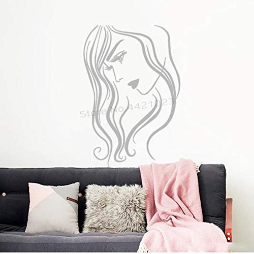 Wandaufkleber 42X62cm Frau Haar Schönheitssalon Art Deco Spa Kreative Logo Bewegliche Wanddekoration Büro Diy Pvc Schlafzimmer Familie Wasserdicht Selbstklebende Wohnzimmer Fenster