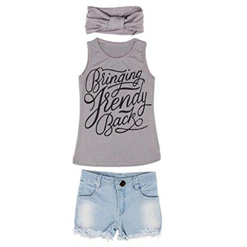 Vestito per ragazze,yanhoo® 1set bambino neonate vest top vestiti + jeans pantaloncini shorts + vestito sciarpa,abito bambina ragazz abiti senza maniche gonna tutu schienale (100, grigio)