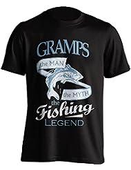 """Grandpa 'pesca–Camiseta Gramps, el Man, The Myth, de la leyenda """"Pesca De Pesca Camiseta–idea de regalo para Grand Dad en su cumpleaños, Regalo de Navidad o día del padre., negro"""