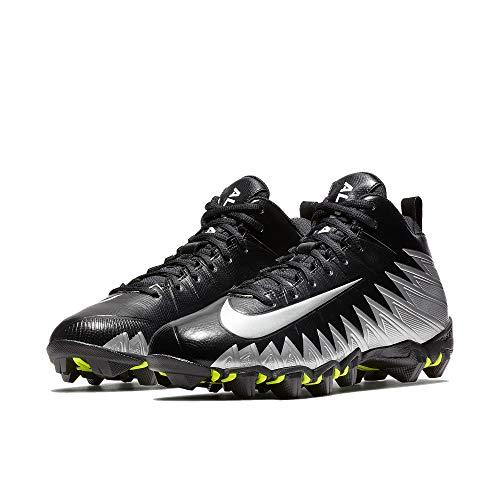 Nike Men's Alpha Menace Shark Football Cleat Black/Metallic Silver/White Size 9 M US (Silver Cleats Football Nike)