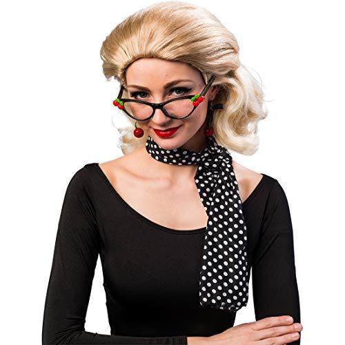 Accessoire-Set mit Brille, Ohrringen & Halstuch | Schwarz-Rot | Schönes Damen-Kostüm-Zubehör Retro Pin-Up-Girl | Perfekt geeignet für Mottoparty & Karneval ()