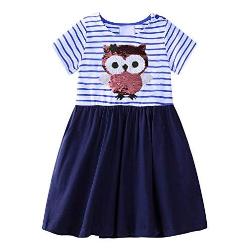 VIKITA Sommer Kleider Mädchen Ärmellos Kleid Baumwolle Bunt Print Stickerei Freizeitkleidung Gr.86-128 SH6182 6T Kinder-sommer-kleid