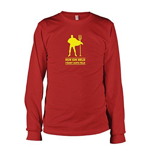 TEXLAB - Nur ein Held fährt aufs Feld - Langarm T-Shirt, Herren, Größe XXL, rot (Langarm-shirt-feld)