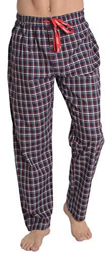 El Búho Nocturno - Herren Lange Karierte Pyjamahose | Schlafanzughose, Klassische Nachtwäsche für Herren - Größe XXL - Viyella, 100% Baumwolle - Rot, Marineblau und Weiß