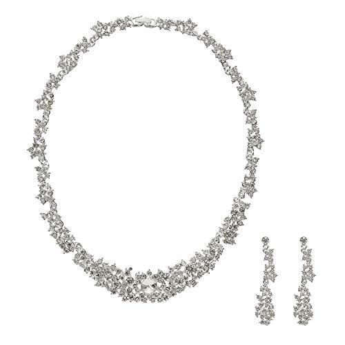 Metme Strass Kristall Halskette und Ohrringe Hochzeit Schmuck Set Geschenke Prom Zubehör