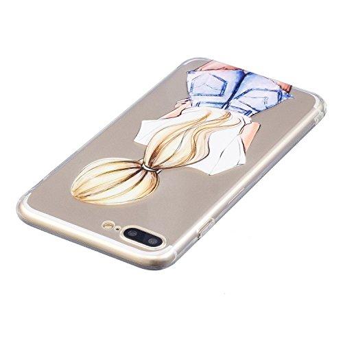 iPhone 7 Plus Hülle, Voguecase Silikon Schutzhülle / Case / Cover / Hülle / TPU Gel Skin für Apple iPhone 7 Plus 5.5(Shih Tzu) + Gratis Universal Eingabestift Blondes Mädchen