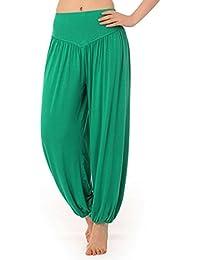 Pantalon Yoga Coton - BienBien Femmes Elastique Leggings Harem Sarouel Baggy Hip Hip Casual Sportswear pour Danse Fitness Jogging