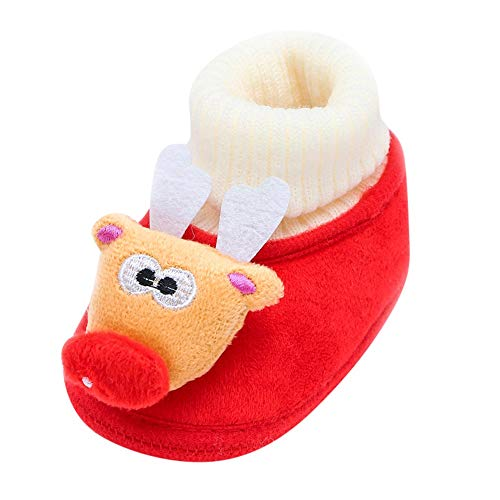 Jaysis Neugeborenes Kleinkind Baby Weihnachten Schuhe, Cartoon Deer Warme weiche Sohle Stiefel Freizeitschuhe Sneakers