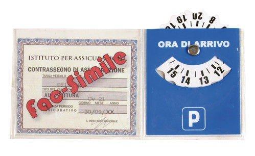 takestop® SET 2 DISCO ORARIO E PORTA ASSICURAZIONE CON ADESIVO PER PARABREZZA AUTO PARCHEGGIO PARCHEGGIARE IN PVC